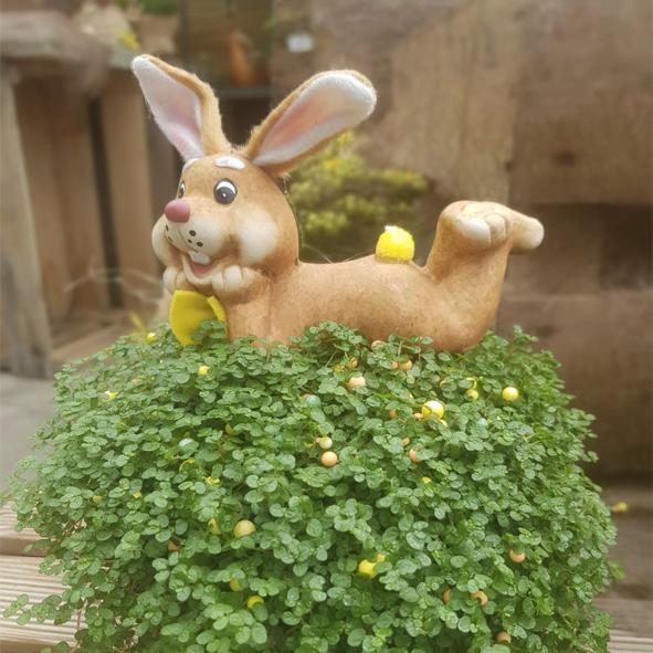 Plante-et-statuette-lapin